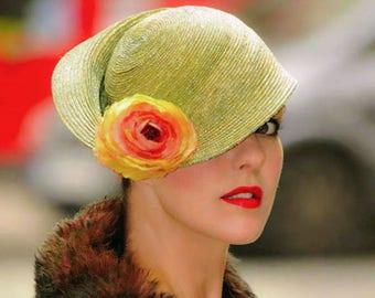The Digby Race Day Hat - Elegant Green Sweeping Asymmetric Brim Cloche Hat w/ Silk Sunflower