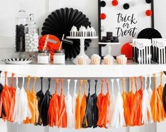 Halloween Decoration Halloween Banner  Halloween Decorations Black Orange DIY Tissue Tassels Garland Balloon Streamer Kit Assembled Tassels