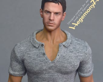 1/6th scale XXL grey polo shirt for: Phicen M34 and Hot Toys TTM 20 size bigger action figures and male fashion dolls