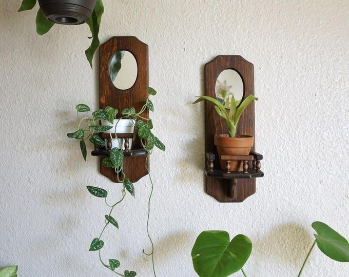 Vintage Three Mountaineers Inc. Mirrored Solid Wood Wall Shelf / Pocket / Display