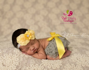 Baby Lace Bloomer Set- Newborn Headband and Bloomers- Newborn Ruffle diaper cover - Cake smash outfit- Ruffle Baby Diaper cover