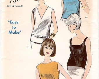 Great Uncut Vintage 1960s Vogue 6317 Easy to Make Blouse in 4 Versions Sewing Pattern B36