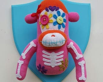 Wall Mounted, Day of the Dead, Sock Monkey, Mexican, Dia de los Muertos, sugar skull