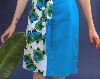 1960s Mod Color Block Flower Print Half and Half Shift Dress Small