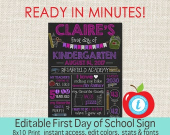 First Day of School Chalkboard, First Day of School sign, ANY GRADE, Back to School, 1st Day Printable Sign, EDITABLE, Instant Download