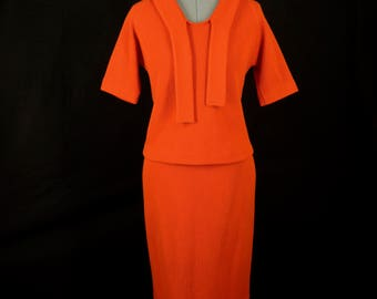 Vintage Glasgo Orange Wool and Mohair 2 Piece Top and Skirt Set