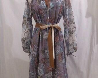 BOHO BLISS floral peasant dress - ruffle hem - summer style sz S / M