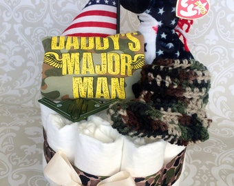 Baby Boy Military Diaper cake - One Tier Diaper Cake - made to order
