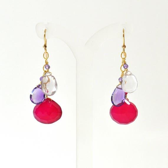 Pink Chalcedony, Amethyst, Pink Amethyst Earrings, Bright Pink Stone earrings, Fuschia Pink stone Earrings,  Pink stone Gold  earrings,