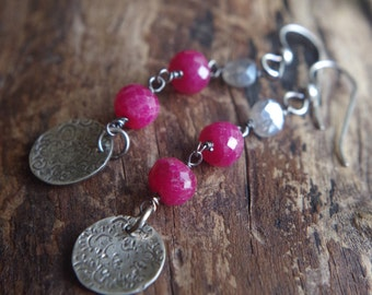 Ruby and Mystic Labradorite Sterling Silver earrings - Boho earrings - Midsummer Night earrings