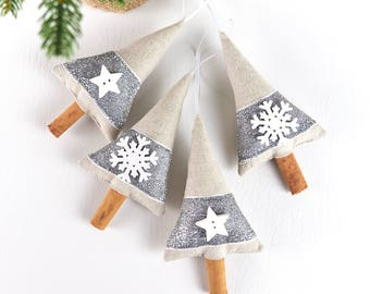 Silver and White Snowflake and Star Cinnamon Hanging Christmas Tree Decorations Modern Farmhouse Christmas Party Favours