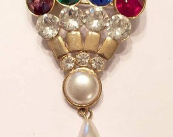 Vintage Crown Style Rhinestone with Faux Pearl Brooch