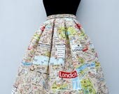 London map skirt, high waisted full skirt, all sizes and plus sizes