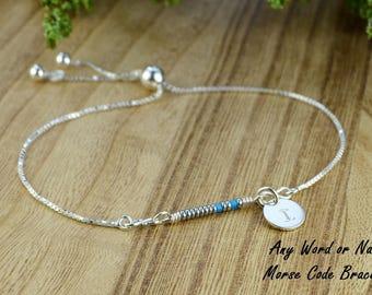 Any Word/Name Morse Code Adjustable Sterling Silver Interchangeable Charm/Link Bolo Bracelet  -Custom Dangle-Charm, Bracelet Chain, or Both