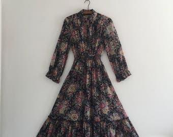 Vintage 70's Western Floral Dress S