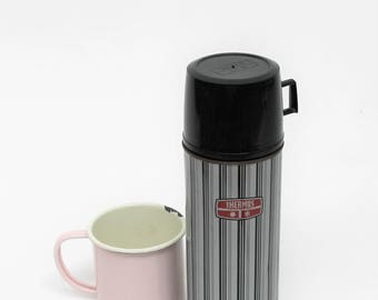 1970s/80s Black and Grey Striped Thermos Flask