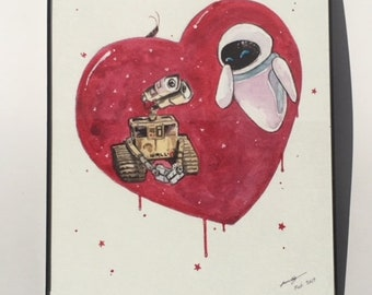 Wall-E and Eve Heart Painting
