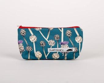 Handmade artichoke pouch, vegetable print pencil case