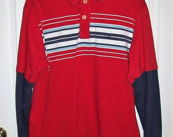 Vintage Men's Red & Blue Striped Polo Rugby Shirt by Ocean Pacific Large Only 10 USD
