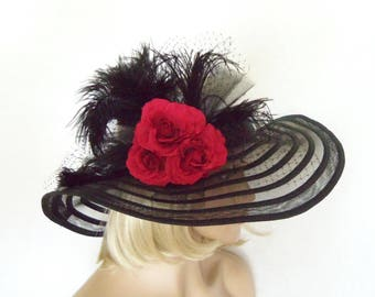 Ladies Black Hat - Black and White Hat - Kentucky Derby Hat, Garden Party Hat or Victorian Tea Party