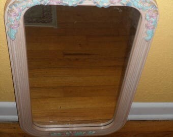 Shabby Chic/VICTORIAN STYLE MIRROR/Pink, Blue/Ready to Hang