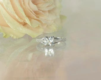 Antique Style Ring, Princess Cut Ring, Princess Cut Engagement Ring, Princess Cut, Unique Engagement Ring, Anniversary Ring, April Birthday