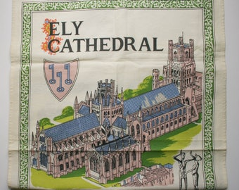 Vintage, Ely Cathedral, Cotton Tea Towel, Historical, Made in UK, Richlin