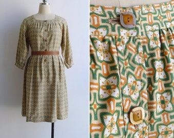 Vintage 70's 'Peranakan Tile' Square Neck Cotton Day Dress S or M