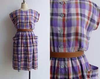 Vintage 80's Purple Madras Plaid Apron Pocket Dress M or L