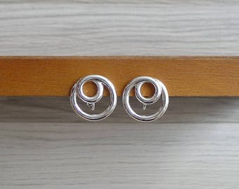 10-25% OFF Code In Shop - Vintage 80's Modernist Circles Silver Clip & Screw Back Earrings