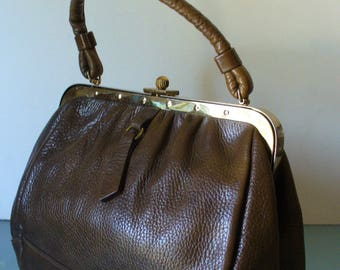 Vintage Saber Pebbled Leather Handbag