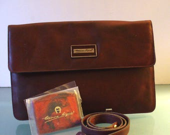 Vintage Etienne Aigner Oxblood Clutch With Detachable Strap