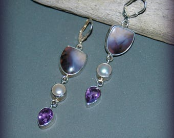 Sterling Silver, Botswana Agate, Amethyst & White Pearl Dangle Earrings