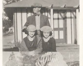 """Vintage Snapshot """"Dad Times Two"""" Double Exposure Film Advance Mistake Stylish Young Women Found Vernacular Photo"""