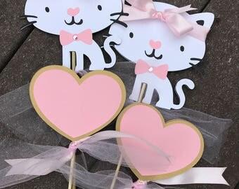 Kitty Centerpiece, Cat Centerpiece, Heart Centerpiece, Cat Birthday Decoration, Kitty Birthday Decoration, Pink Gold, CUSTOM ORDER