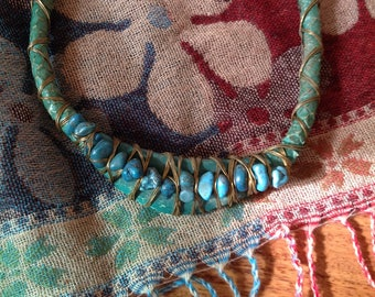 Vintage TURQUOISE and SNAKESKIN Choker