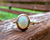 Art Deco 9ct 9k Gold Opal Solitaire Ring, Vintage Natural Opal Signet Ring, Stackable Yellow Gold Opal Band Ring, October Birthston