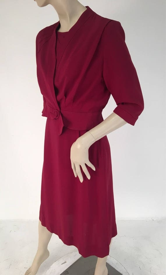 Vintage Early 1940s Maroon Rayon Two Piece Dress Size Large