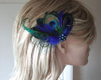 "Bridal Royal Blue Green Peacock Feathers Fascinator Hair Clip ""Avril"" - 1 Day to Make - Tropical Wedding Mother of the Bride Gatsby Party"