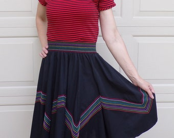 70's 80's VINTAGE MALCO MODES full circle skirt rainbow stitching S M