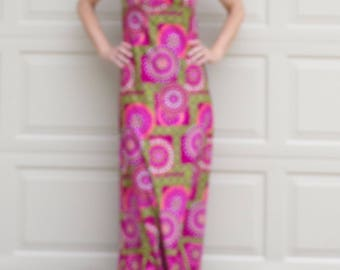 1970's VINTAGE MAXI DRESS pink green empire waist S 70's