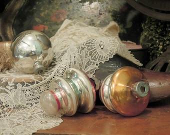 Three Vintage Silver Mercury Glass Ornaments / Round Poland Christmas Ornament / Shiny Brite Ornaments