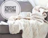 Crochet Pattern | Chunky Throw Blanket, Knit Afghan / Cozy Home Decor Thick Wool Blanket Easy Beginner / Instant Download PDF Pattern