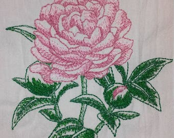 Large Cotton Peony Tea Towel