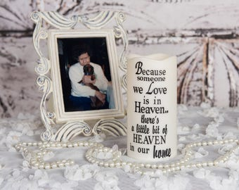 Because some we love is in heaven LED candle - Because candle - LED candle - Flameless candle - Sentimental candle - Memorial candle