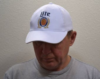 Vintage Miller Light cap trucker Hat snapback white fine Pilsner  Beer Collectibles cap rare collectible NOS made in USA Milwaukee, WI cap