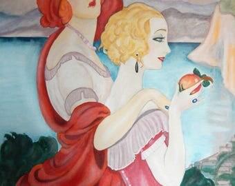 Art Deco Art Print by Gerda Wegener called Road to Anacapri