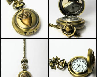 Acorn Kiss Peter Pan Pocket Watch Necklace In Antique Bronze Peter Pan and Wendy Hidden Kiss
