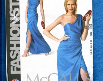 McCalls 6837 Super Sultry Evening Dress with One Shoulder & Side Drape Size 6 to 14 UNCUT