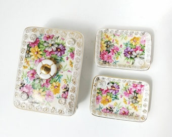 Tilso Japan Floral Vanity Set Trinket Dish Trays Jewelry Box